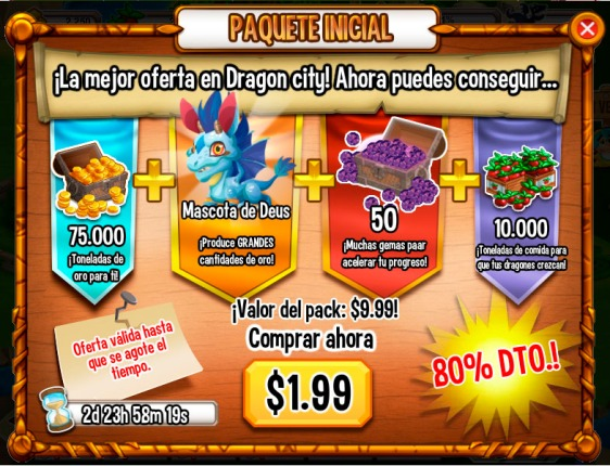Paquete Inicial Dragon City