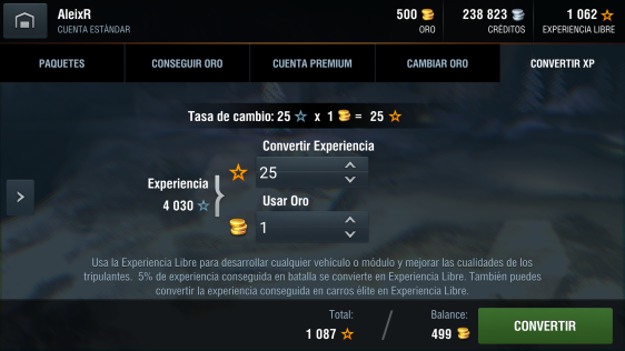 Advergame World - Aleix Risco - World of Tanks - WotBlitz - Convertir Experiencia